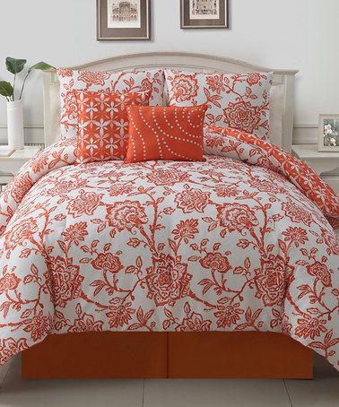 Take a look at this Orange Jordin Comforter Set by Victoria Classics on #zulily today!