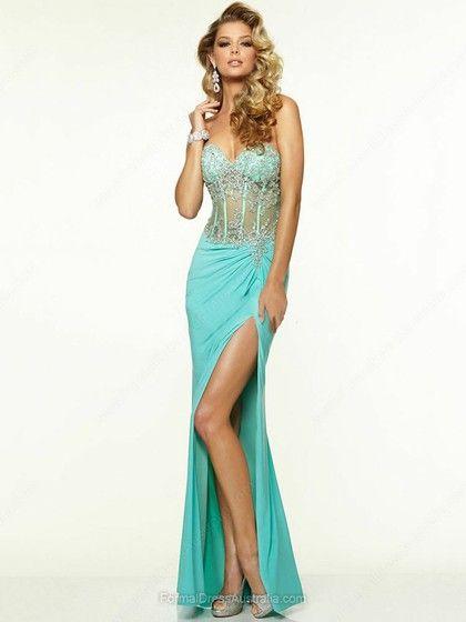 Sheath/Column Tulle Silk-like Satin Sweetheart Beading Sweep Train Formal Dresses -AUD$204.59