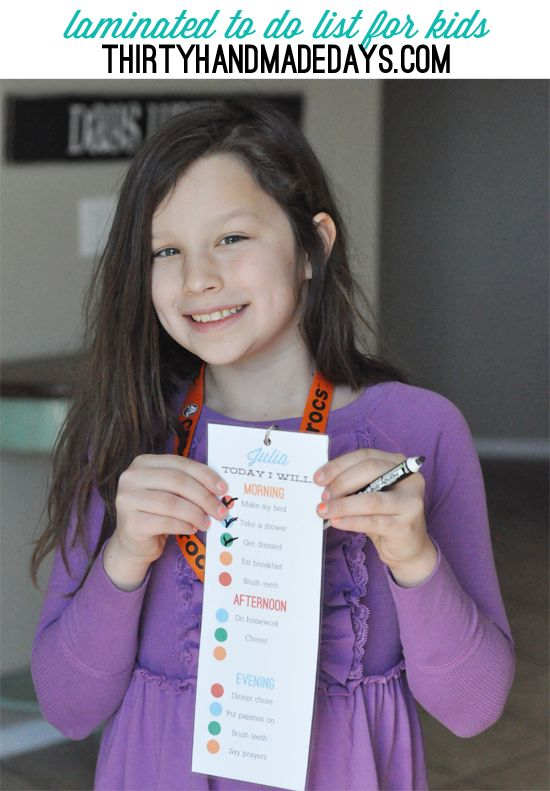 Simple laminated kids to do list- a visual list to help kids do their daily chores.
