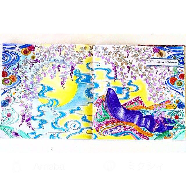 Instagram media tiatiajewjew - かぐや姫見開き♡#お姫様と妖精の塗り絵ブック#大人の塗り絵#ぬりえ#コロリアージュ#水彩色鉛筆#色鉛筆#パステル#かぐや姫#お月さま#十二単#百人一首#Themoonprincess