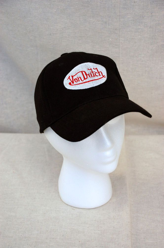 Von Dutch Black Cap Hat  Patch logo adjustable back #VonDutch #Trucker