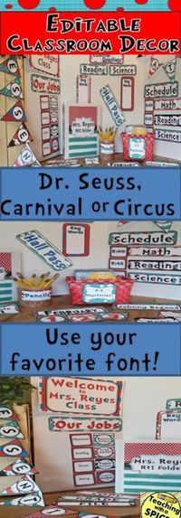 Editable classroom decoration for Dr. Seuss, circus, Mickey Mouse or carnival themed classroom! You can design your own charts and save money! It includes editable tags, pennant, birthday chart, 100 chart, sticker chart, binders and spines, posters, label