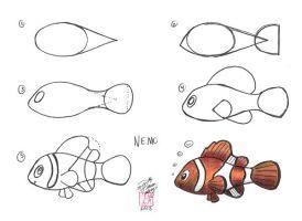 how to draw a cartoon clown fish