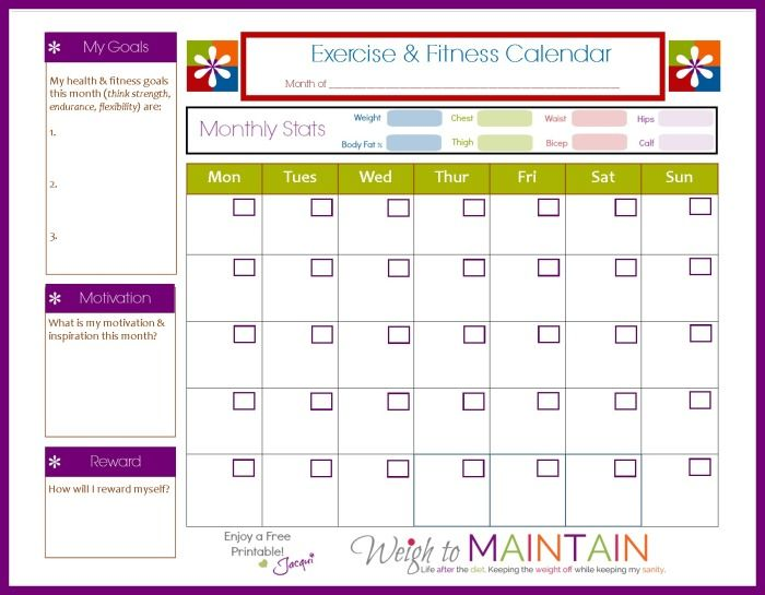 Free printable Fitness Calendar to plot workouts, track exercise, goals, motivation, and plan rewards. Download the fitness calendar at Weigh to Maintain.