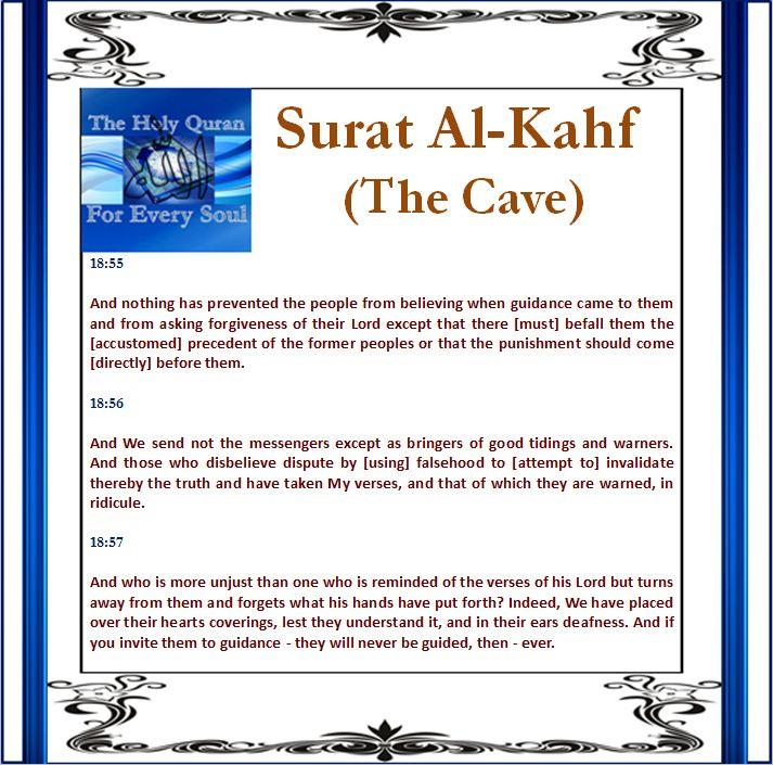 Surat Al-Kahf (The Cave) 18:55, 18:56, 18:57