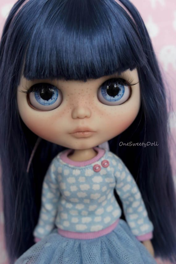 Vyhrazeno pro Sandra - Bluebell - modré vlasy RBL Blythe továrna na zakázku OOAK