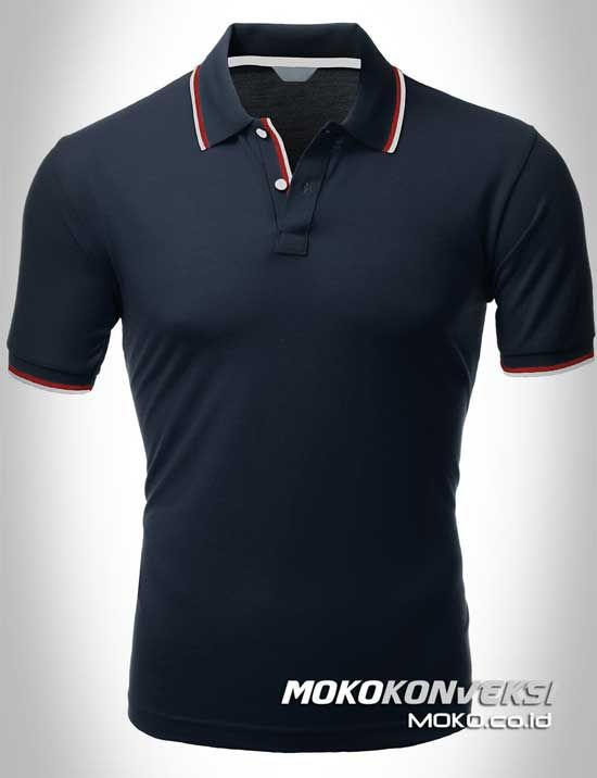 Polo Shirt Dual Stripes Accent | MOKO.CO.ID Kaos Berkerah Polo Shirt Warna Hitam.