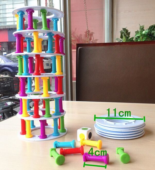 Pizza tower collapse stacking crazy column game balance toy funny desktop table toy Learn Education kid plastic happy family toy