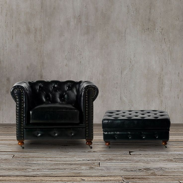 with classic lines and a gorgeous tufted back this tufted black leather chair and ottoman