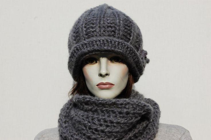 Crochhet Hat Knit Scarf Set In grey color Winter by GreenCatStudio