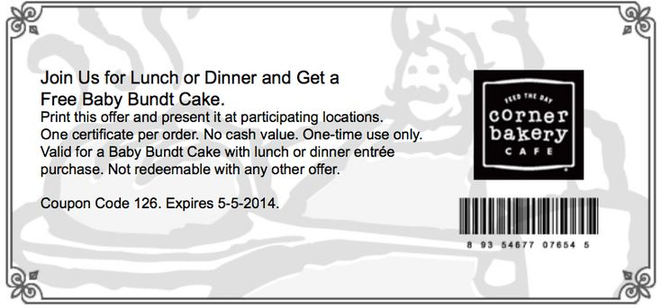 Corner Bakery Cafe Printable Coupon