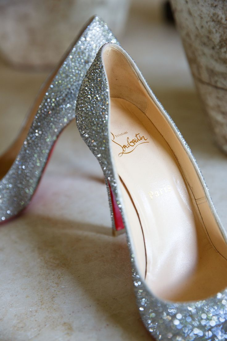 Bride wore sparkling crystal Louboutin heels. #BridalShoes Photography: Karlisch Studio. Read More: http://www.insideweddings.com/weddings/southern-chic-wedding-in-oklahoma-with-performance-by-boyz-ii-men/697/