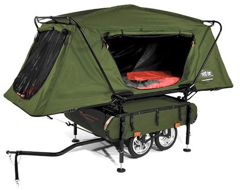 Ultra-Tiny Camper Designed to Trail Your Two-Wheeled Ride: This is about as small and mobile as a 'home' gets, short of a tent you pack right on your back – a flip-out trailer dwelling made to be pulled behind a bicycle. The  Midget Bushtrekka is a wee four-wheeled wonder that weighs 50 pounds with 180 liters of storage space easily accessed regardless of configuration.