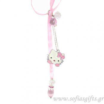 Κρεμαστό γούρι Hello Kitty ροζ με λευκά και ροζ κρυσταλιζέ πέτρες - Είδη σπιτιού και χειροποίητες δημιουργίες   Σοφία