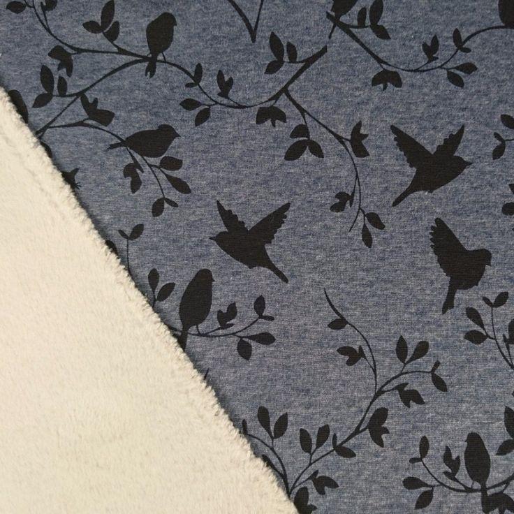 Alpen Fleece Jersey Vögel Ranken blaugrau meliert schwarz #alpen #alpenfleece #bedruckt