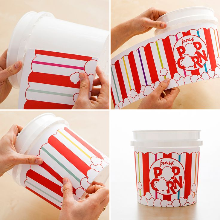 Make your own popcorn bucket for the Oscars with this free printable.