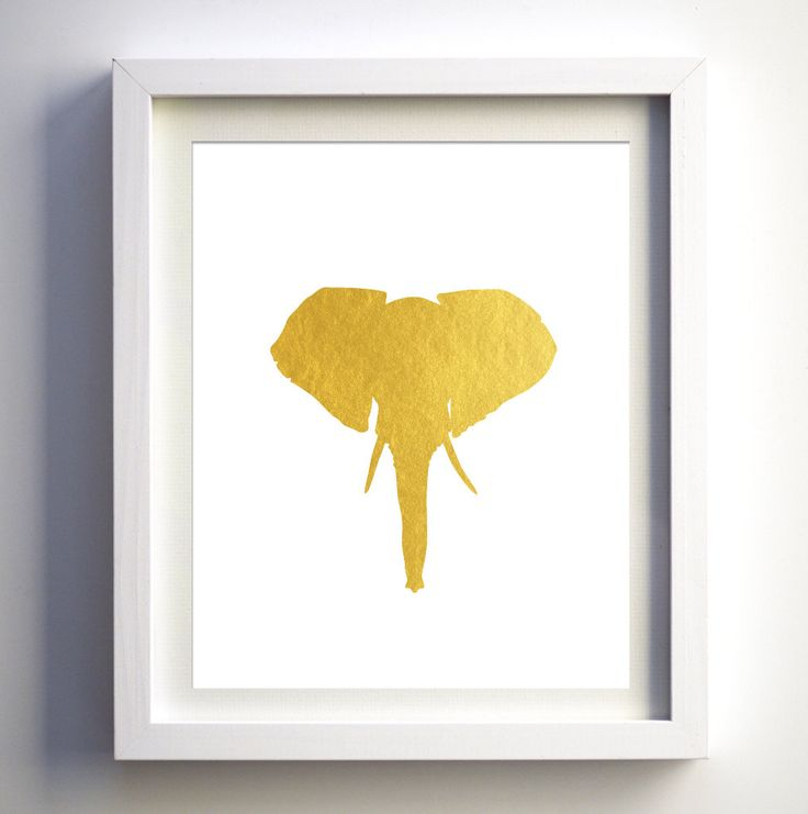 Gold foil elephant head gold foil faux animal wall art modern animal wall print minimalist abstract elephant animal modern gold wall decor