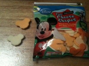Mickey Mouse Cheese at Walmart. Bought it before, and the boys like it. I need to remember to get some for E's party.