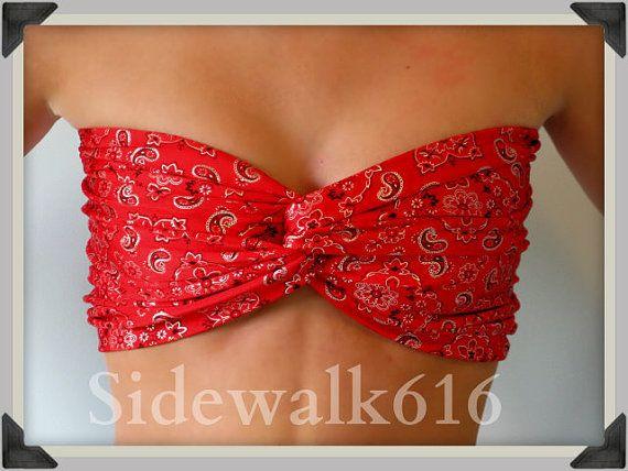 Bandeau Top Bandana Print Bandeau Bikini Swim by Sidewalk616, $30.00