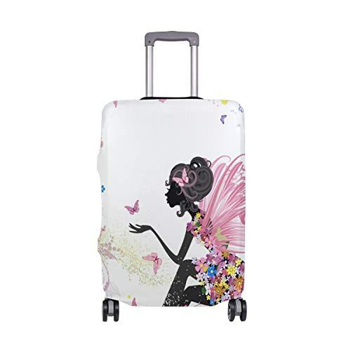 07367ea077e5 Luggage Cover Pink Butterfly Fairy Flower Dress Suitcase Protector ...