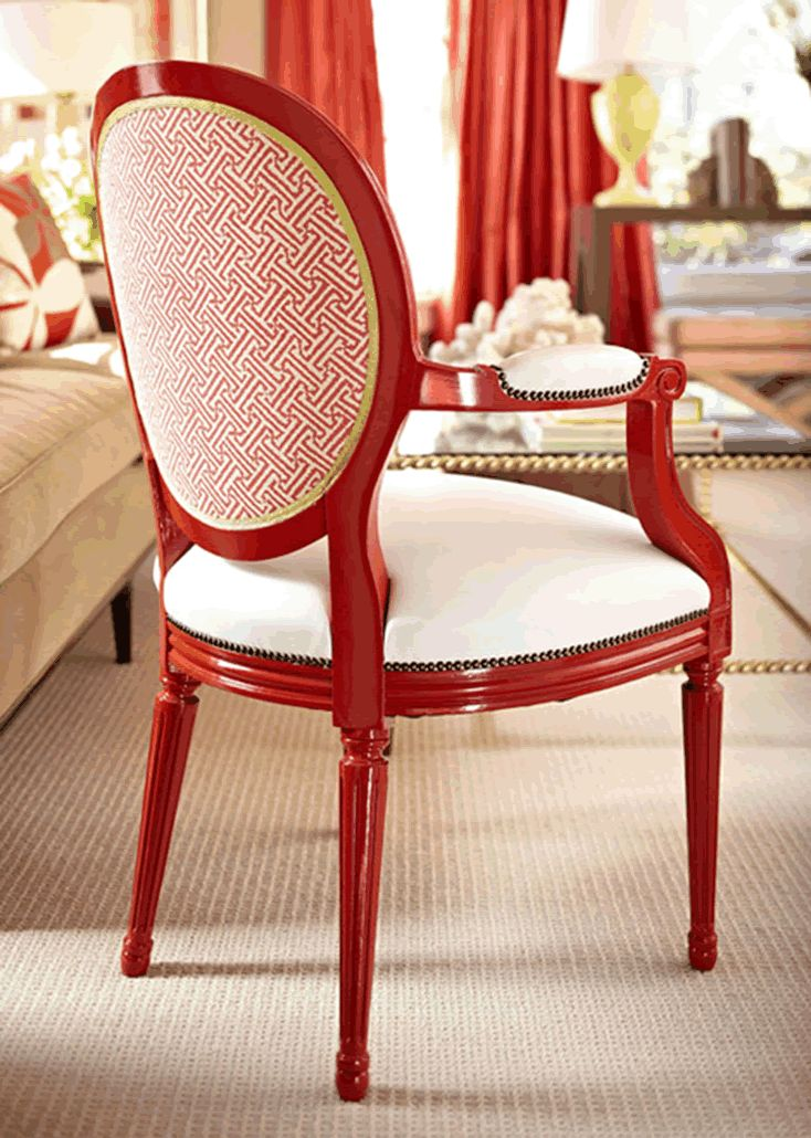 Charming Quadrille Fabric On Chair Back. Pops Of Orange. White ChairsRed ...