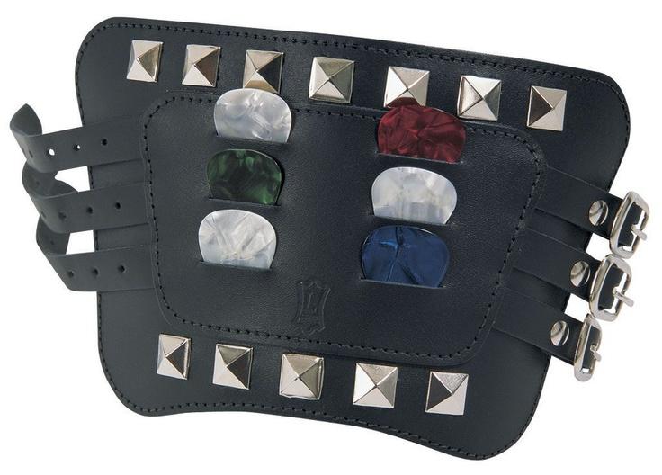MWB01 - Bracciale porta plettri in pelle con borchie - nero
