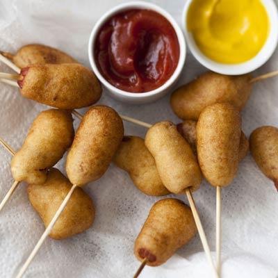 hot dogs on sticks!