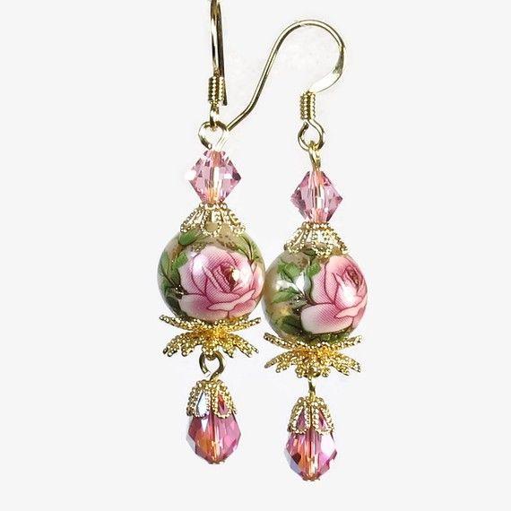 Pink Rose Earrings, Vintage Inspired