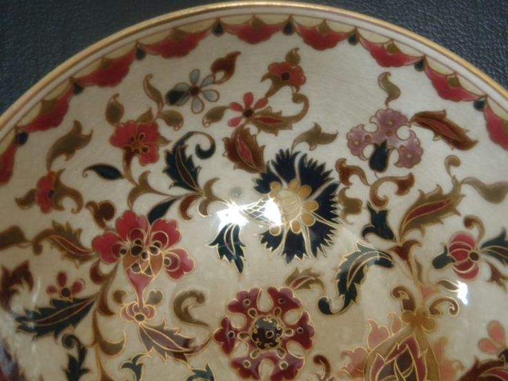 Fab RARE ANTIQUE c1870's ''ZSOLNAY PECS'' Hungary PERSIAN INSPIRED  GUILT BOWL!