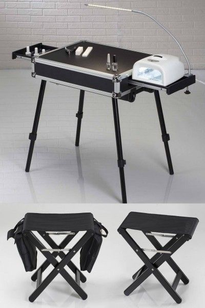 KIT VT NAIL COMPLETE MOBILE NAIL WORKSTATION. Portable Makeup & Hairstyling Stations. Cantoni for beauty professionals and passionates who love to do makeup and hair-styling everywhere. Nail table trolley with solvent resistant surface and nail lamp hook, customer folding stool, nail artist folding stool, waterproof protection bag for the nail suitcase. #makeupstation #nailcompletemobile #cantoninailstation