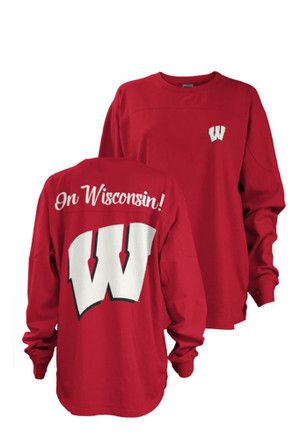 Wisconsin Womens Fight Song Red LS Tee