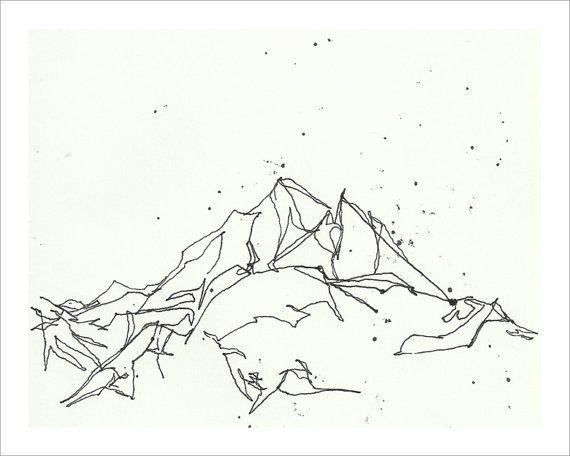 Line Art Poster Design : Mountain line drawing print winter snow art black
