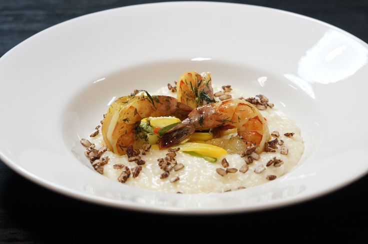 Bellini Kitchen Master Arborio Rice Risotto with crispy red rice and Sous Vide Tiger Shrimp and Bell peppers!