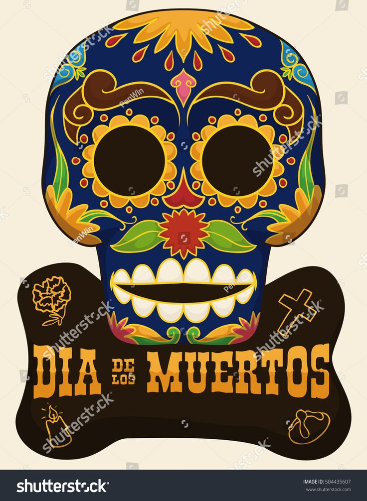 """Poster with traditional skull with floral design and sign with iconic elements of Mexican celebration """"Day of the Dead"""" (""""Dia de Muertos"""" in Spanish): marigold, bread of the dead, cross and candle."""
