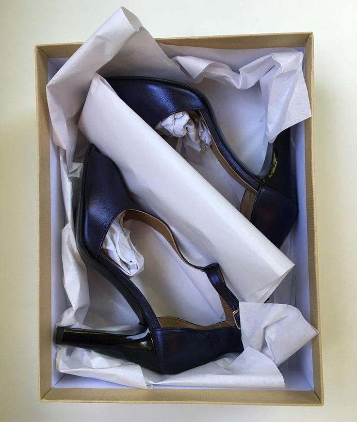 Handmade peep toe/tango type. Made with metal-Dark blue calf leather upper, lamp leather linning, and polished black leather sole. 105mm heel. Handmade in Greece by Fine Shoes-Christine Nikolaidou   https://www.facebook.com/chistine.nikolaidou/