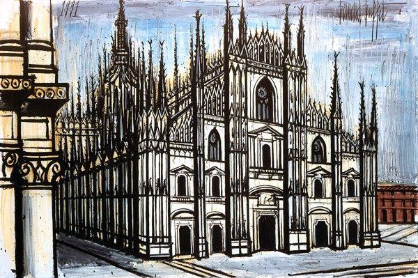 Bernard Buffet - Le Dôme de Milan - 1991, oil on canvas - 130 x 195 cm