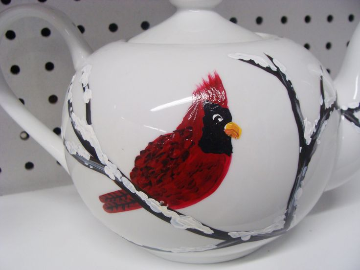 Cardinal Teapot, Birds, Bird lovers, Red Cardinal, winter, snowy branches, Christmas Gift, entertaining, tea, serving, housewarming gift by CANADIANCREATIONZ on Etsy