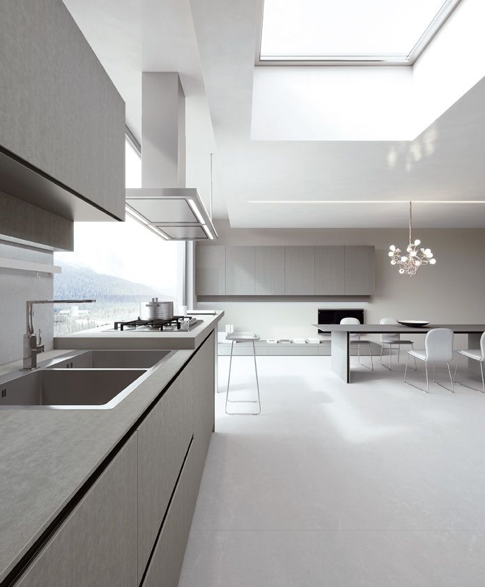 PaperStone® Light Grey doors and top. #ArritalCucine #Kculture #modern #kitchen #Ak04 #sustainability