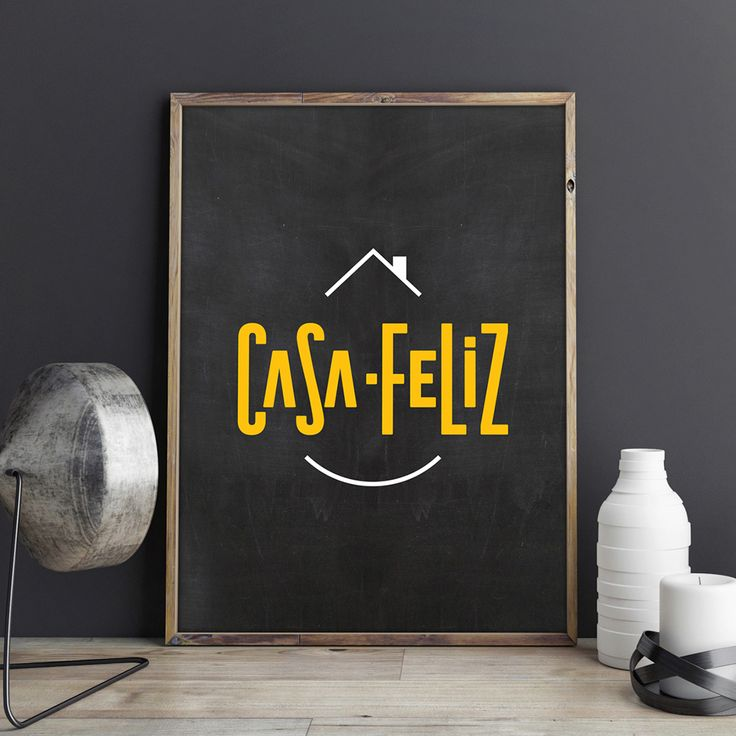 "Casa-Feliz means ""Happy-House"" in Portuguese. The concept is straightforward, a fun typography with a roof and chimney upon the logo and a smile beneath the composition. The result is an original playful logo."