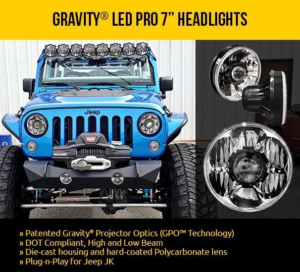 Kc Hilites Gravity Led Pro 7 Jeep Jk Headlights Feature Bright Cree Leds For Dot Low High Beams On 07 16 Jks Diecast Aluminum Housing Jeep Jk Jeep Diecast