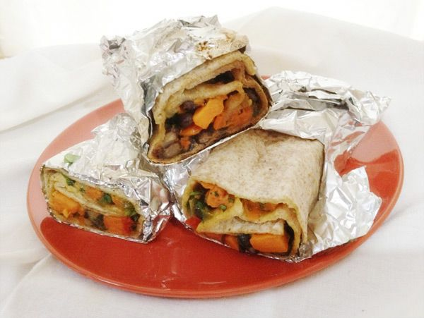 Grilled veggie and bean burrito (freezer friendly)