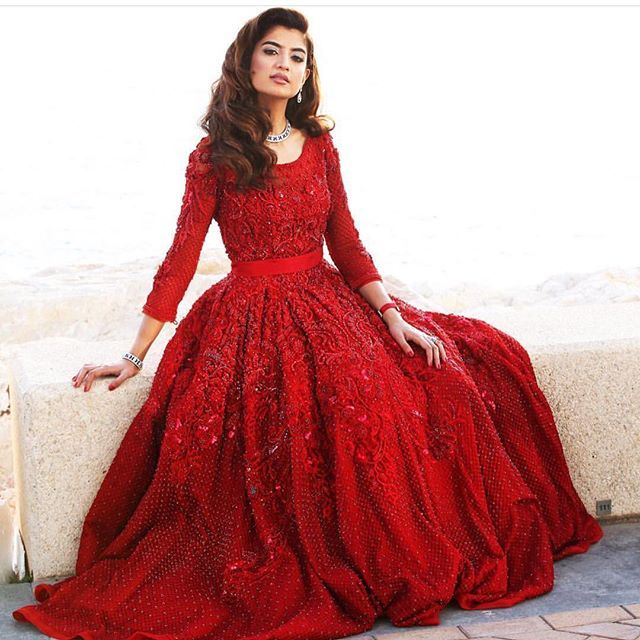 @olafarahat looks every bit a princess in this @farazmanan couture gown #engagement #olafarahat #olaandgheith #mydubai #dubai #arab #london #paris #farazmanan #potd #farazmananmiddleeast #FarazMananDubai #jumeirah #hautecouture #red #royal