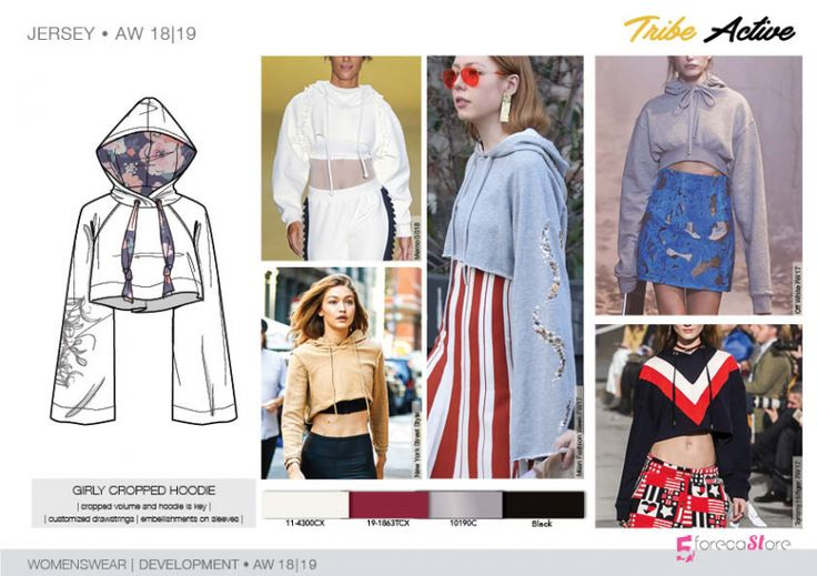 FW 208-19 Trend forecast: GIRLY CROPPED HOODIE, cropped volume, customized drawstrings, embellishments on sleeves, development designs by 5forecaStore Fashion trend forecasting.