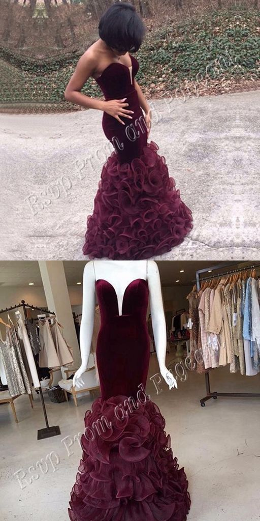 Long Elegant Prom Dresses 2016 Mermaid Sexy Black Girl African Floor Length Burgundy Prom Dress