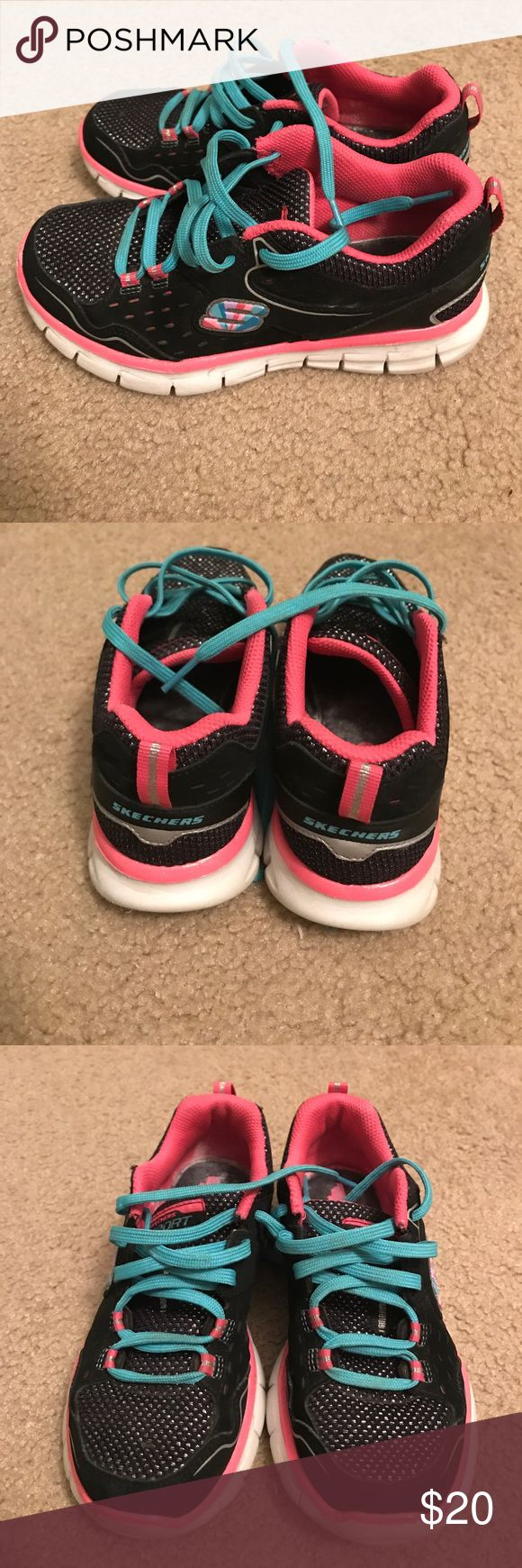 Sketchers Sneakers Girls black sparkle sneakers with pink outline act aqua shoelaces.  Great condition.  Memory foam.  Daughter grew out of them quickly.  Still a lot of life in them. Skechers Shoes Sneakers