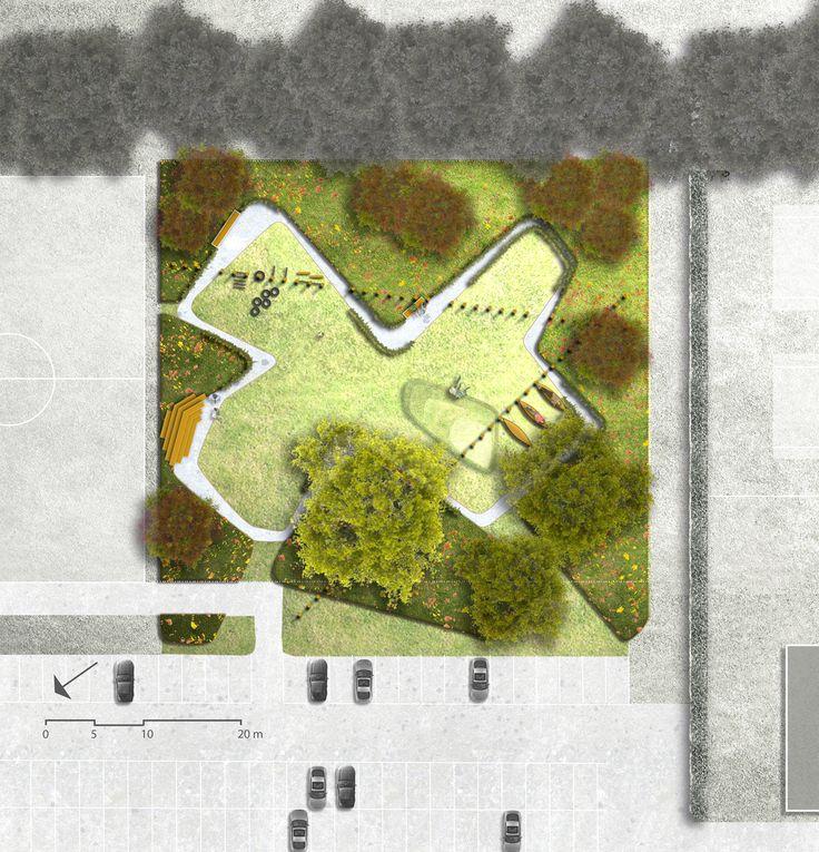 Ontwerp voor publieke tuin voor fitness en relaxen in Malburgen-oost. Ontworpen en aan te leggen met jongeren uit de buurt. Ontwerp 2014, Marian van de Hulsbeek, Maurice Wenker en Teddy Buningh