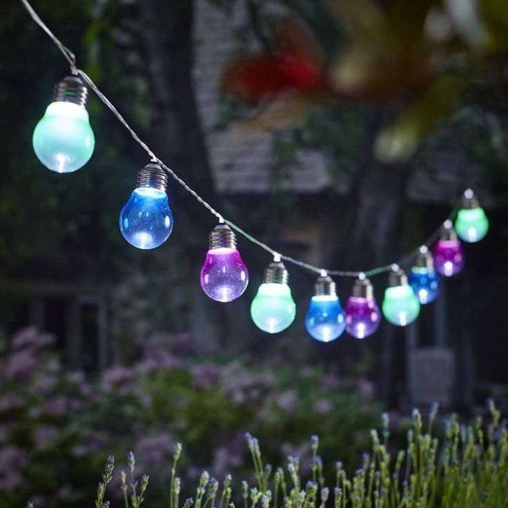 Perfect for entertaining and outdoor dining. Grace your garden with these funky coloured lightbulb shaped solar lights. <ul> <li></li> <li>White LEDs</li> <li>Requires AA battery (included)</li> </ul>Transform your garden into a magical grotto with a cool urban twist with these fabulous lightbulb shaped solar lights. A step away from the traditional solar lights, these up to the minute trendy lights can be hung from practically anywhere you like in your garden. <ul> A multicoloured string…