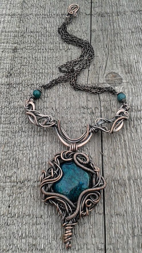 Wire wrapped necklace with natural Turquoise stone inspired by Sleeping Beauty fairy tale,Copper wire necklace,Wire jewelry - pinned by pin4etsy.com