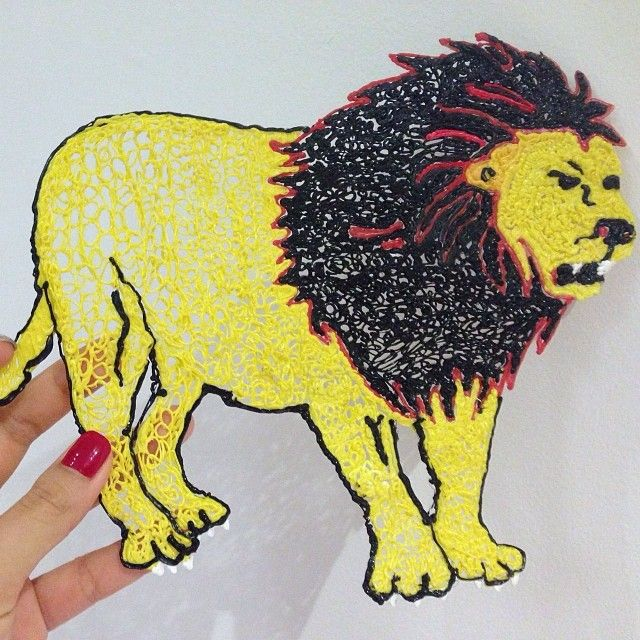 3Doodled Lion drawn from a lion stencil