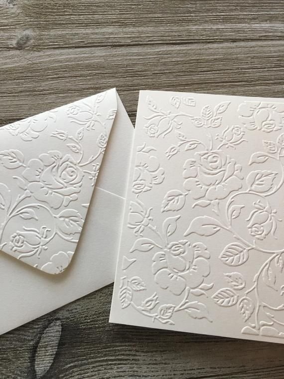 Roses Leaves Handmade Embossed Blank Thank You Folded Cards With Matching Embossed Envelo In 2020 Embossed Cards Cards Handmade Printable Wedding Invitations Vintage